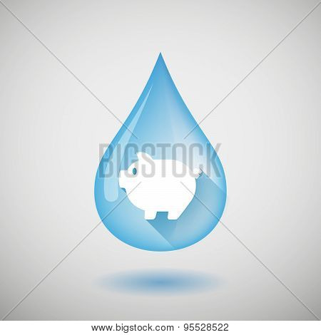 Long Shadow Water Drop Icon With A Pig
