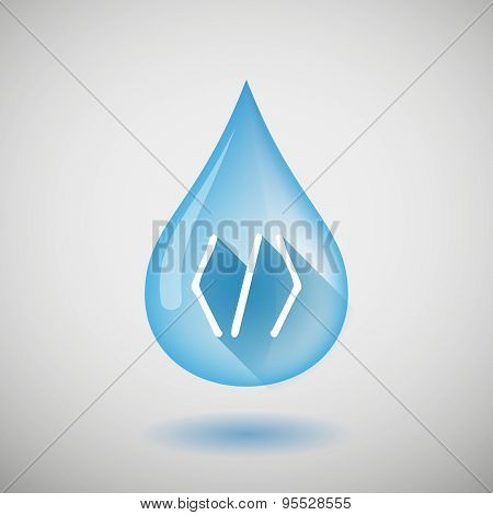 Long Shadow Water Drop Icon With A Code Sign