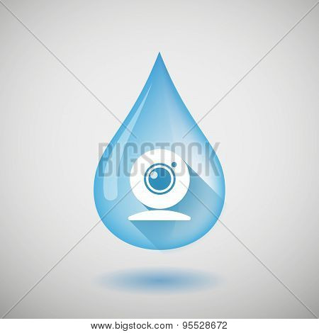 Long Shadow Water Drop Icon With A Web Cam