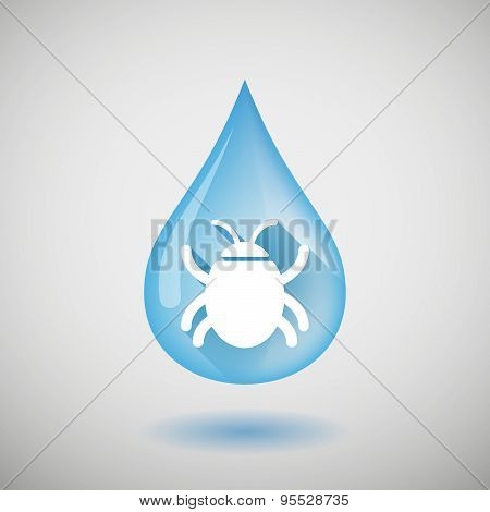 Long Shadow Water Drop Icon With A Bug