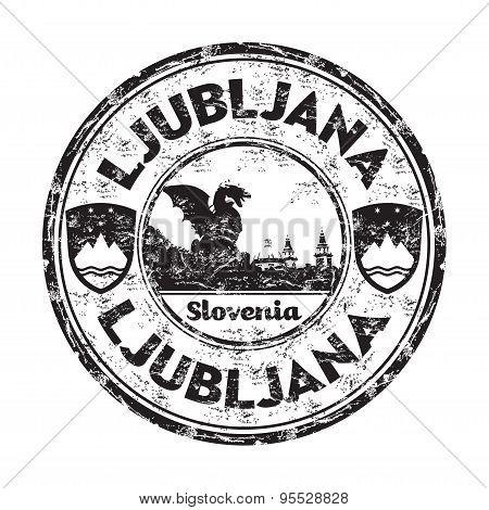 Ljubljana grunge rubber stamp