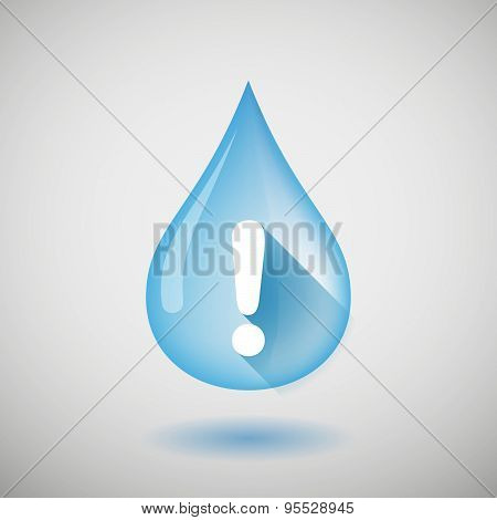 Long Shadow Water Drop Icon With An Admiration Sign