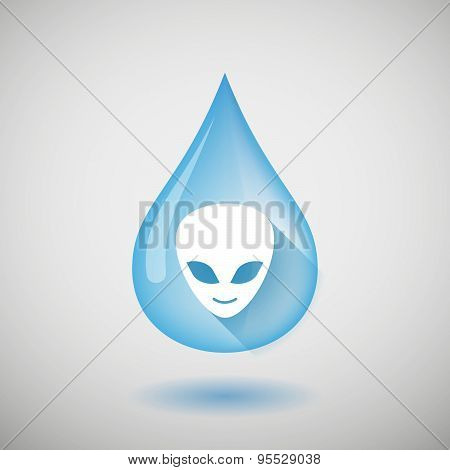 Long Shadow Water Drop Icon With An Alien Face