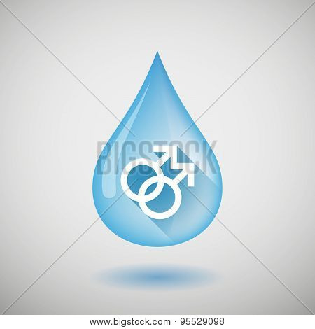 Long Shadow Water Drop Icon With A Gay Sign
