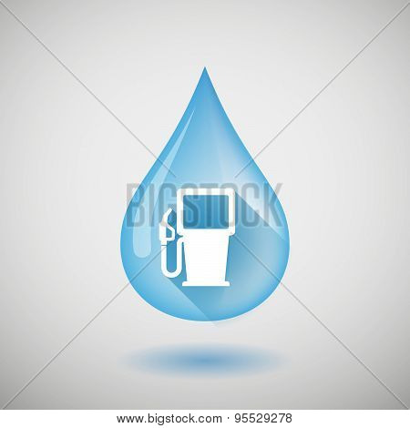 Long Shadow Water Drop Icon With A Gas Station