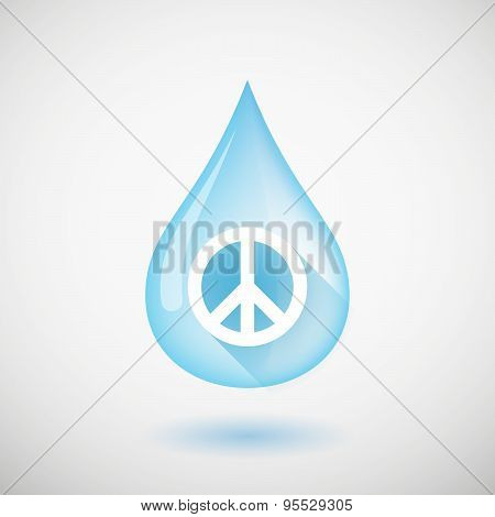 Long Shadow Water Drop Icon With A Peace Sign