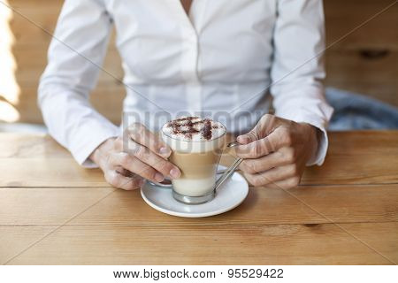 Cappuccino Coffee Between Hands Woman