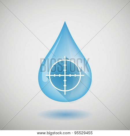 Long Shadow Water Drop Icon With A Crosshair