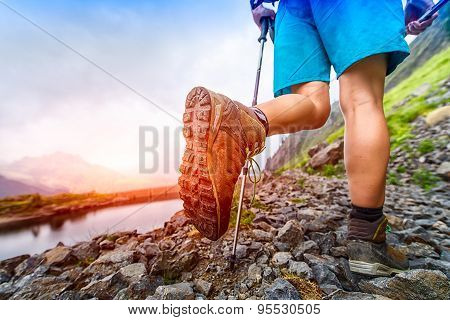 Hiking Boot Closeup On Mountain Trail