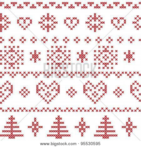 Nordic Pattern With Snowflakes And Xmas Trees And Decorative Ornaments