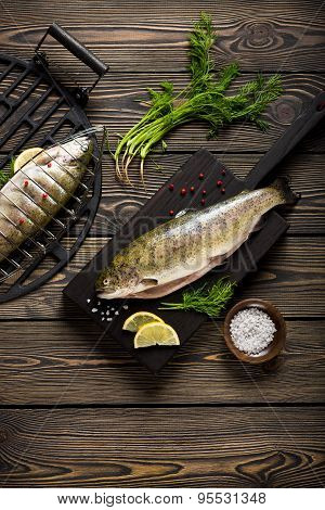 Fresh Whole Trout Fishes Prepared To Grill Top View