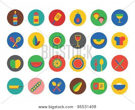 Kitchen Food Icons Vector Set. Fruit, dinner or eating and drinks symbols. Stocks design elements.