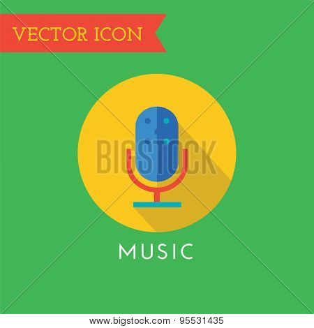 Microphone Icon Vector Icon. Sound, tools or Dj and note symbols. Stocks design element.