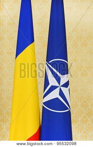 Romania And Nato Flags