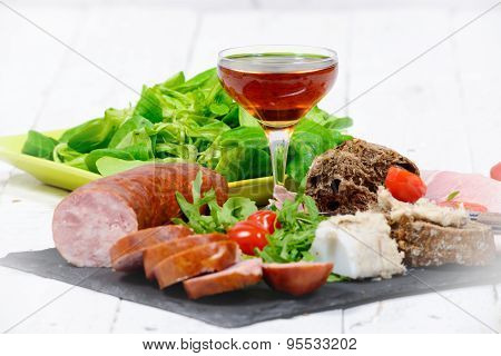 Charcuterie Plate With  Glass Of Wine