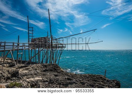 Trabucco, Traditional Fishing Technique Of Gargano, Symbol Of Puglia, Italy