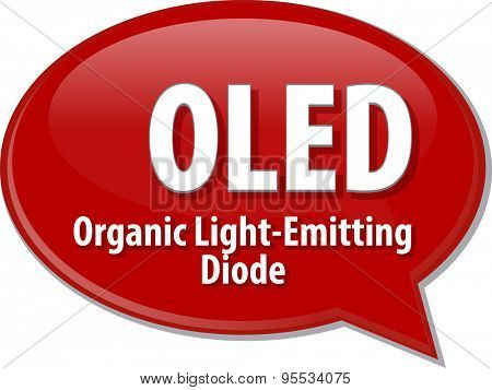 Speech bubble illustration of information technology acronym abbreviation term definition OLED Organic Light-Emitting Diode