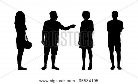 People Standing Outdoor Silhouettes Set 36