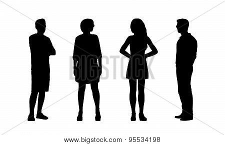 People Standing Outdoor Silhouettes Set 37