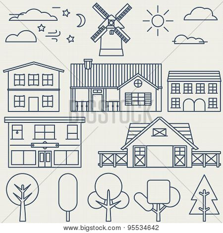Vector Set Of Linear Elements And Icons With Buildings And Houses For Construction Map Or Design