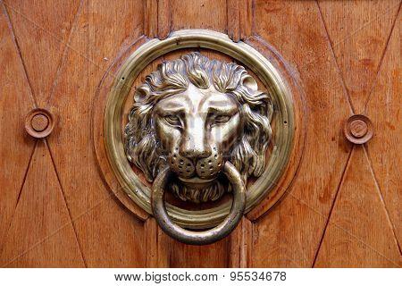Old Lion-head Knocher On The Wooden Door
