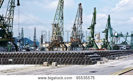 Gas pipes  at Port of Varna