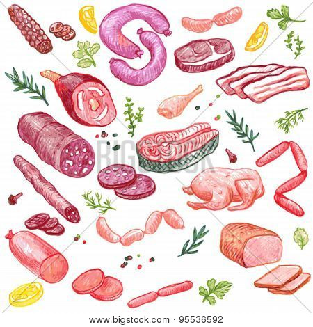 meat vector elements