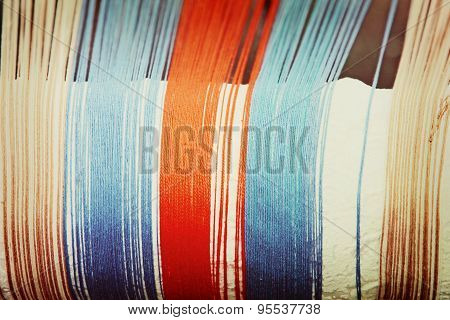 Multicolored Thread Taken Closeup.
