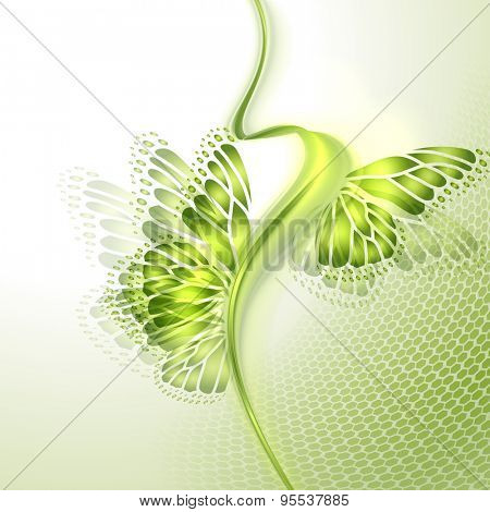Abstract wave green background with butterfly wings