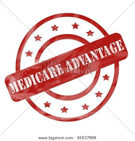 Red Weathered Medicare Advantage Stamp Circles And Stars