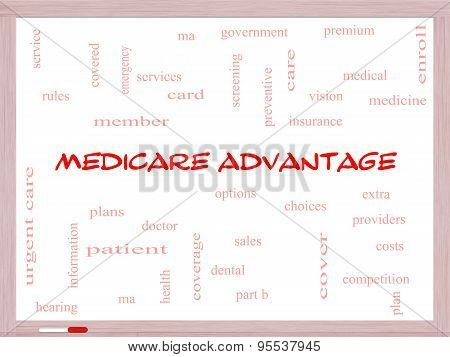 Medicare Advantage Word Cloud Concept On A Whiteboard