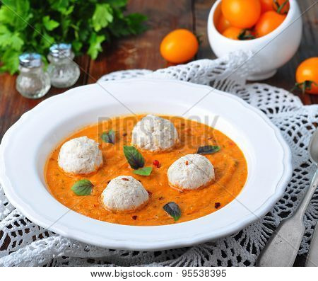 pumpkin soup with vegetables and turkey meatballs