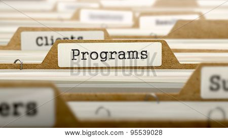 Programs Concept with Word on Folder.