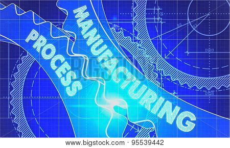 Manufacturing Process on Blueprint of Cogs.