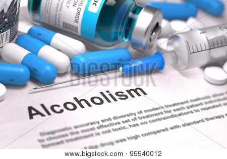 Diagnosis - Alcoholism. Medical Concept. 3D Render.
