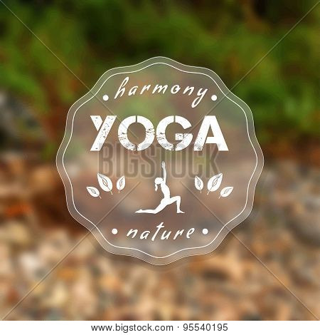 Yoga poster with a natural landscape.