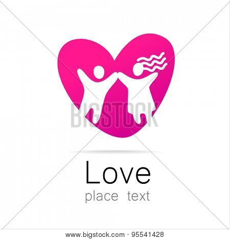 Love couple - a sign of the lovers. The idea for the logo. Marriage st. Valentine's day icon.