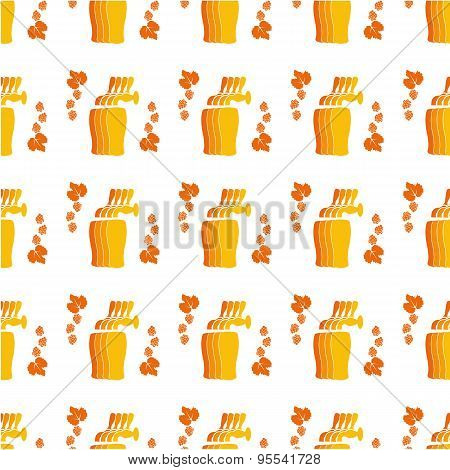 Vector Pattern With Beer Faucets, Glasses, Hops For Backgound, Wrapping