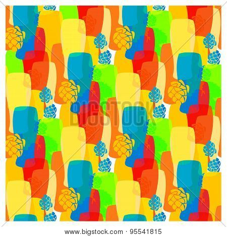 Vector Pattern With Beer Glasses, Hops Different Cold Bright Colors Of Summer