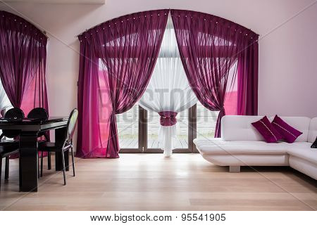 Rose Curtains In Modern Interior