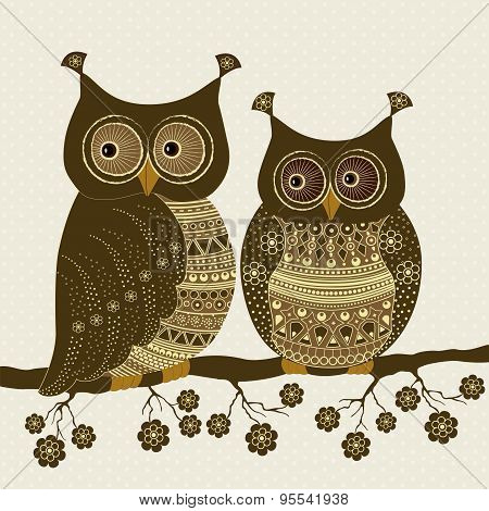 Pair Of Cute Stylized Ornamental Owls