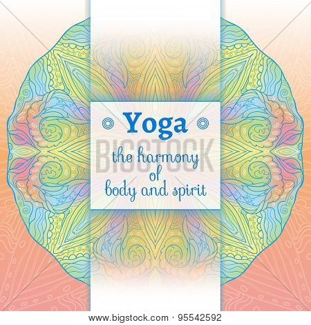 Yoga poster with an ethnic pattern.
