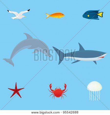 Sea fauna set