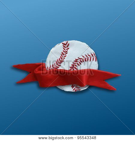 Baseball Ball with red ribbon
