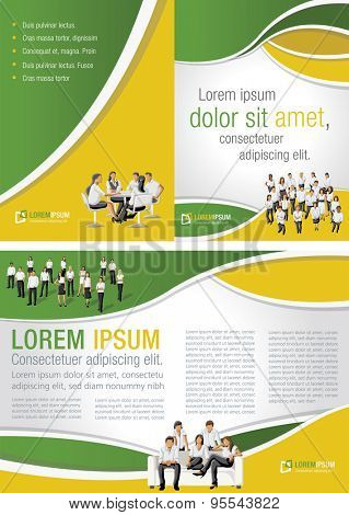 Yellow and green template for advertising brochure with business people