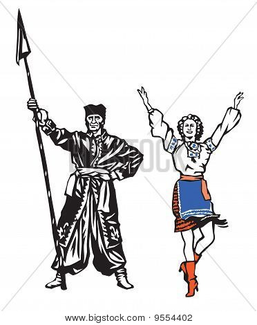 Ukrainians folk dancers