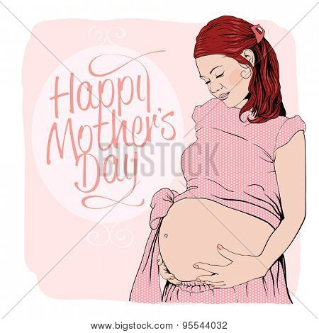 Graphic portrait of a pregnant woman. Happy mothers day card.