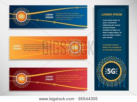 5G Sign Icon On Modern Abstract Flyer, Banner, Brochure Design Template.