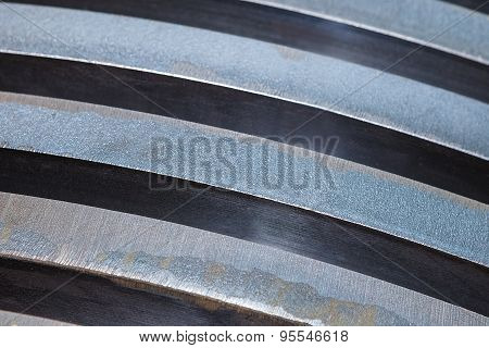 Steel plates stacked , close up