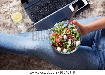 Closeup Of A Bowl Of Salad